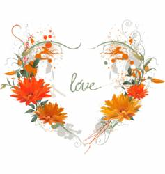 floral grunge heart vector image vector image