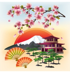 Japanese nature background with sakura and fans vector image vector image