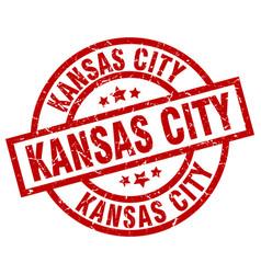 kansas city red round grunge stamp vector image
