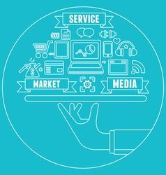 Line concept of media market service vector image vector image