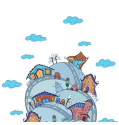 scene with cartoon houses vector image