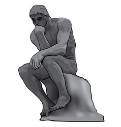 Thinker man concept the thinker statue by the vector
