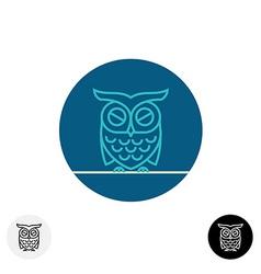 Calm sleeping owl line logo vector image vector image