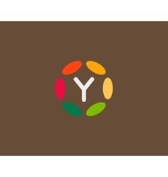 Color letter y logo icon design hub frame vector