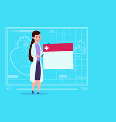 female doctor holding empty diagnosis banner vector image