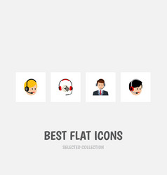 flat icon center set of operator call center vector image vector image