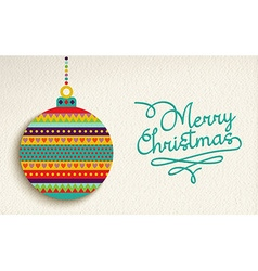 Merry christmas card design with colorful ornament vector image vector image