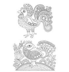 Original black and white line art rooster drawing vector