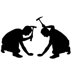people with hammer vector image vector image