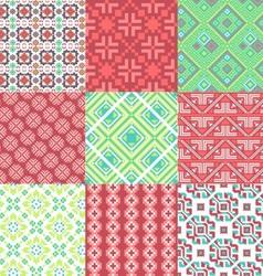 9 retro seamless ornaments vector