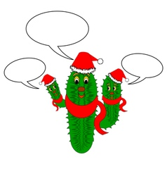 A funny Christmas cactus with speech bubbles vector image