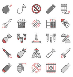 airstrike and missile concept colored icons vector image