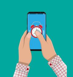 alarm clocks in smartphone vector image