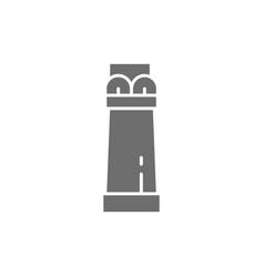 Ancient egyptian column grey icon isolated vector