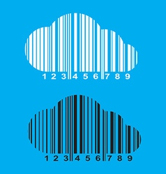 barcode in the form of a cloud of white and black vector image