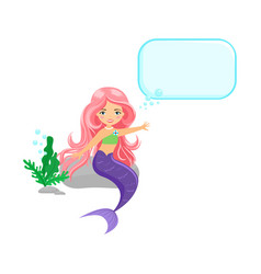 beautiful sitting mermaid with speech bubble vector image