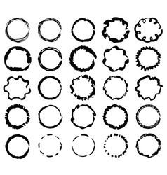 big set isolated black scratch ink brush frames vector image