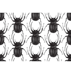 Black Beetle Insect Seamless Pattern vector image