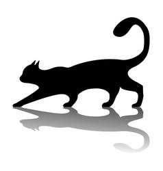 Black cat logo vintage cat silhouette on white vector