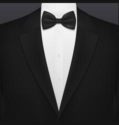 Black smoking suit gentleman tuxedo with necktie vector