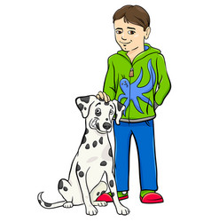 boy with dalamtian dog cartoon vector image