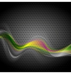 Bright abstract transparent wave on perforated vector image