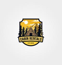 cabin rental logo vintage outdoor symbol design vector image