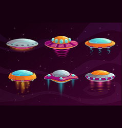 Cartoon colorful ufo assets set vector