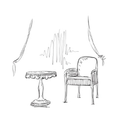 Chair and table sketch Interior vector
