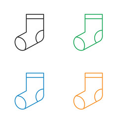 Christmas socks icon line style vector