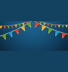 color triangle flags garlands on dark background vector image