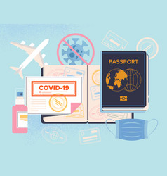 covid19-19 passport for travel concept with vector image