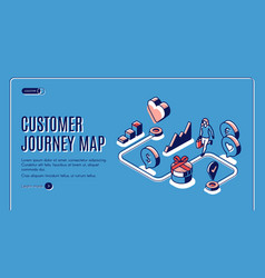 Customer journey map isometric landing page banner vector
