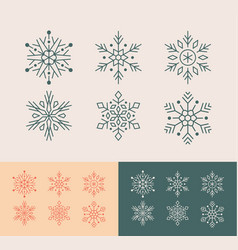 cute snowflakes collection isolated on yellow vector image