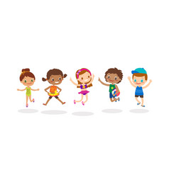 diverse group of kids jumping isolated on white vector image