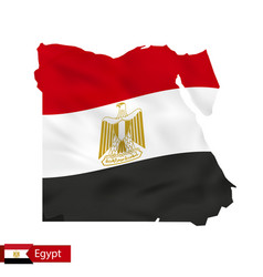 Egypt map with waving flag country vector