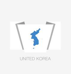 Flag of united korea flat icon waving flag with vector