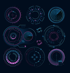 futuristic digital graphics hud radial shapes vector image