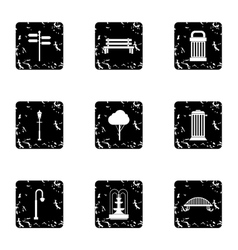 Garden equipment icons set grunge style vector