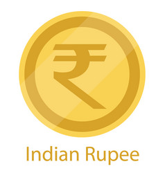 Golden coin indian rupee official currency of vector