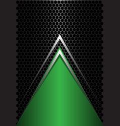 green triangle silver arrow on black hexagon vector image