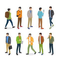 Group of teenage guys dressed in different clothes vector