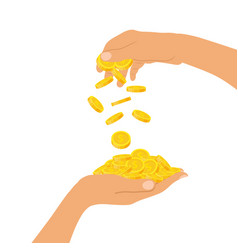 Hand holding a pile of coins and a hand throwing vector