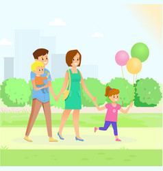 happy family in park vector image