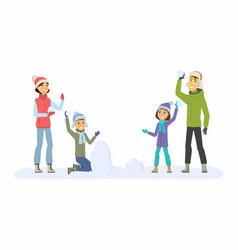 Happy family throwing snowballs - cartoon people vector