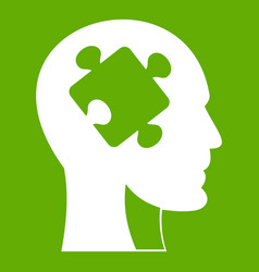 head with puzzle icon green vector image