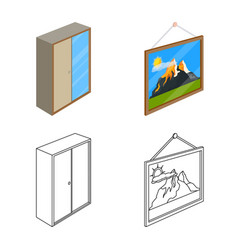 Isolated object of bedroom and room sign set of vector