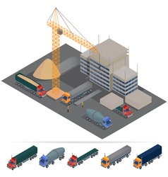 Isometric Building Construction Industry Transport vector image