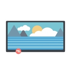 Lcd tv with nature landscape on screen vector