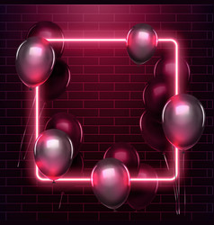 light and glow neon rectangle design neon frame vector image